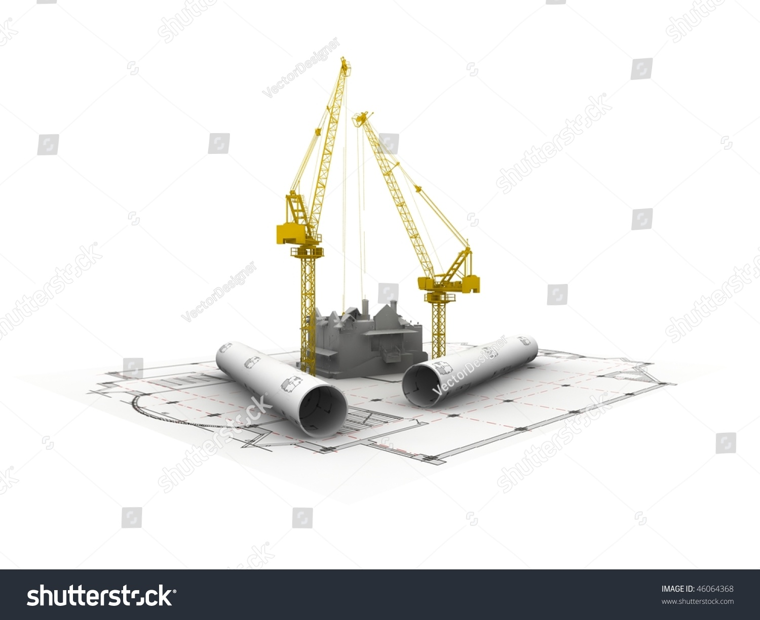 3d plan drawing stock photo 46064368 shutterstock for 3d plan drawing