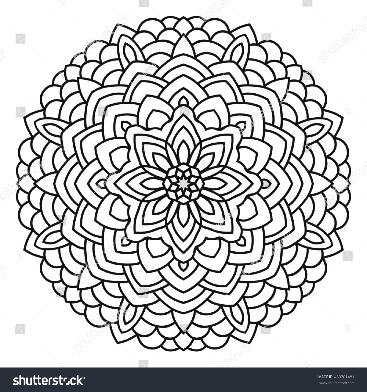 symmetrical circular pattern mandala oriental pattern coloring page for adults