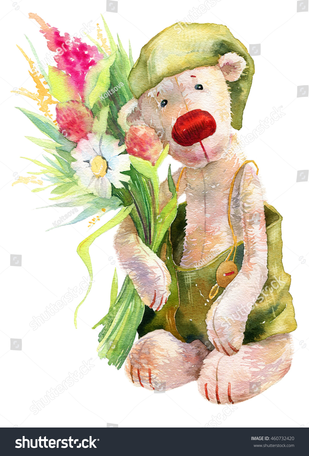 Cute Watercolor Teddy Bear Flowers Kid Stock Illustration 460732420