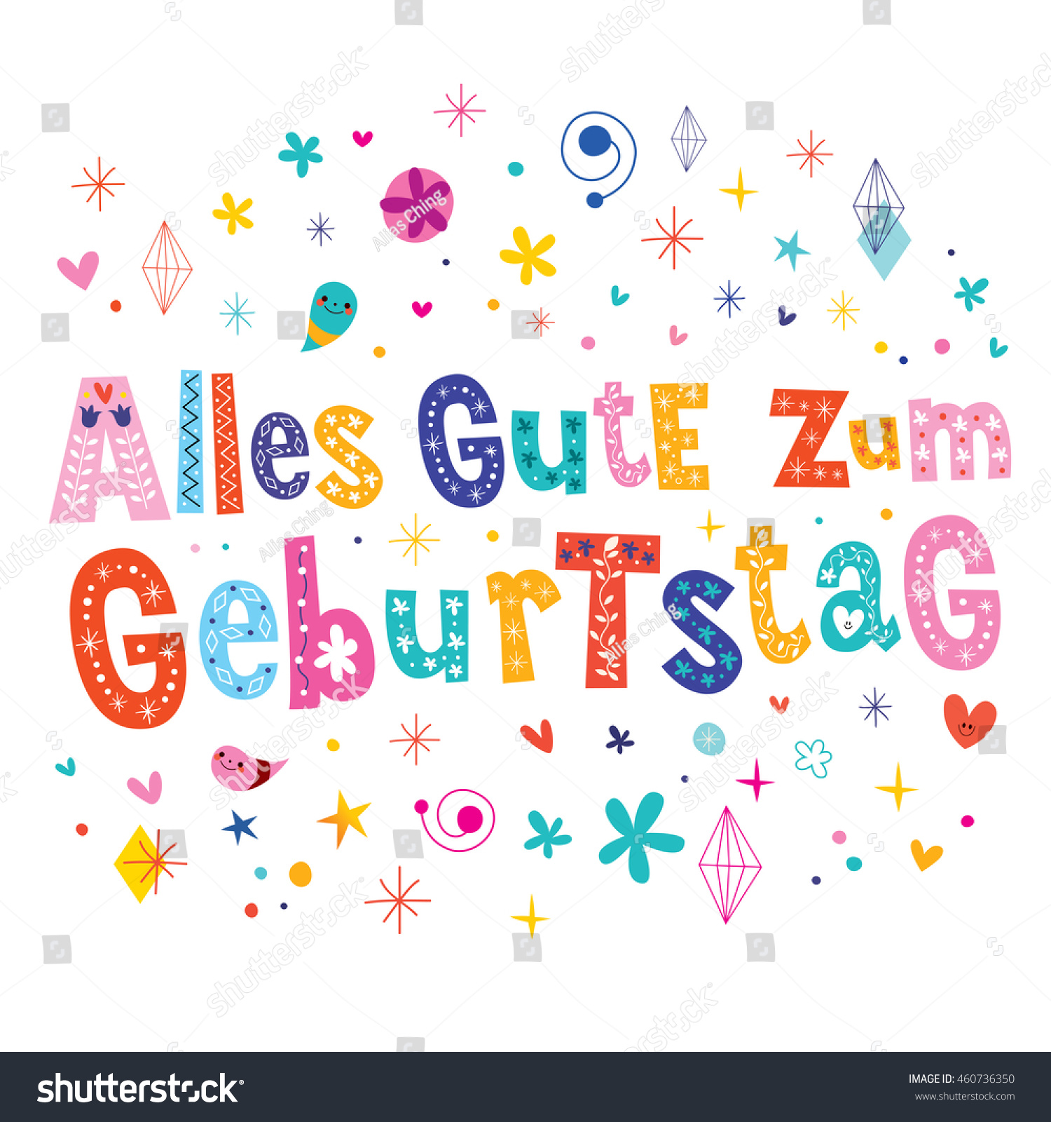Alles Gute Zum Geburtstag Deutsch German Vector 460736350 – Birthday Card in German