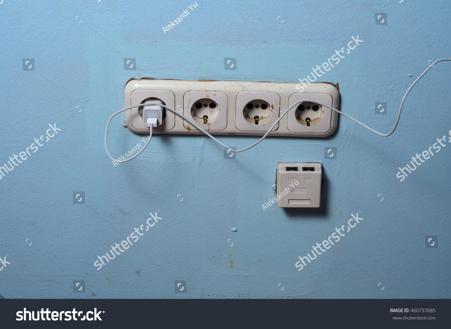 Electric White Plug White Plastic Sockets Stock Photo (Edit Now ...