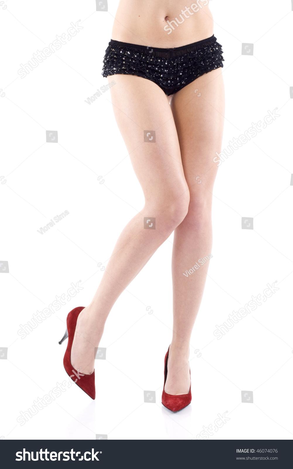 Beautiful Long Legs Fashion Red Shoes Stock