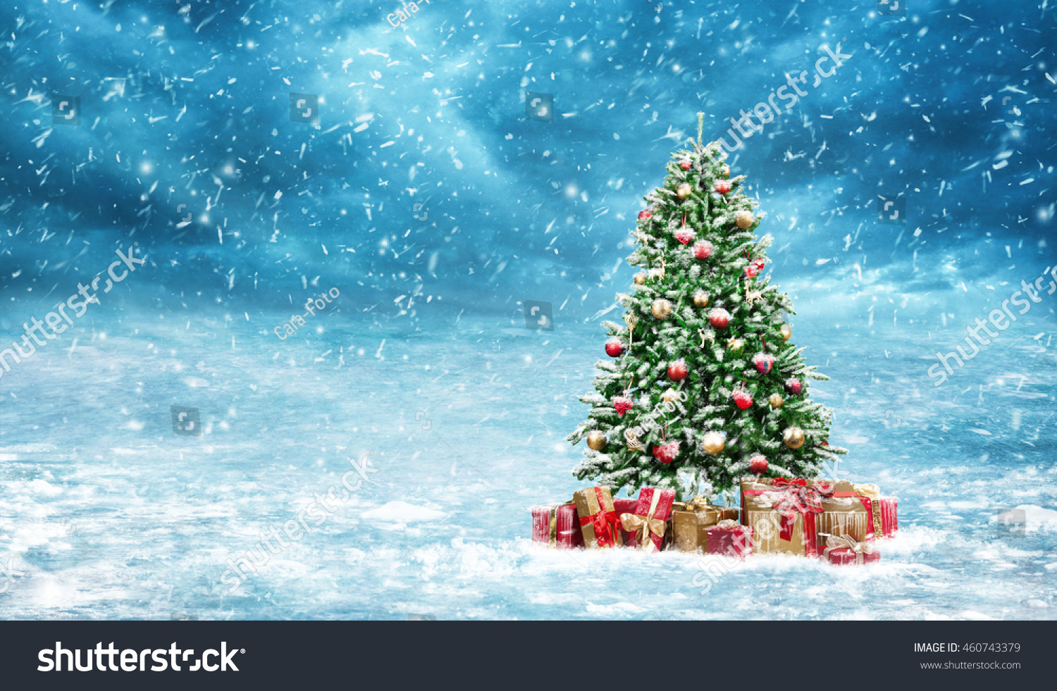 Beautiful winter landscape decorated christmas tree stock for Christmas landscape images