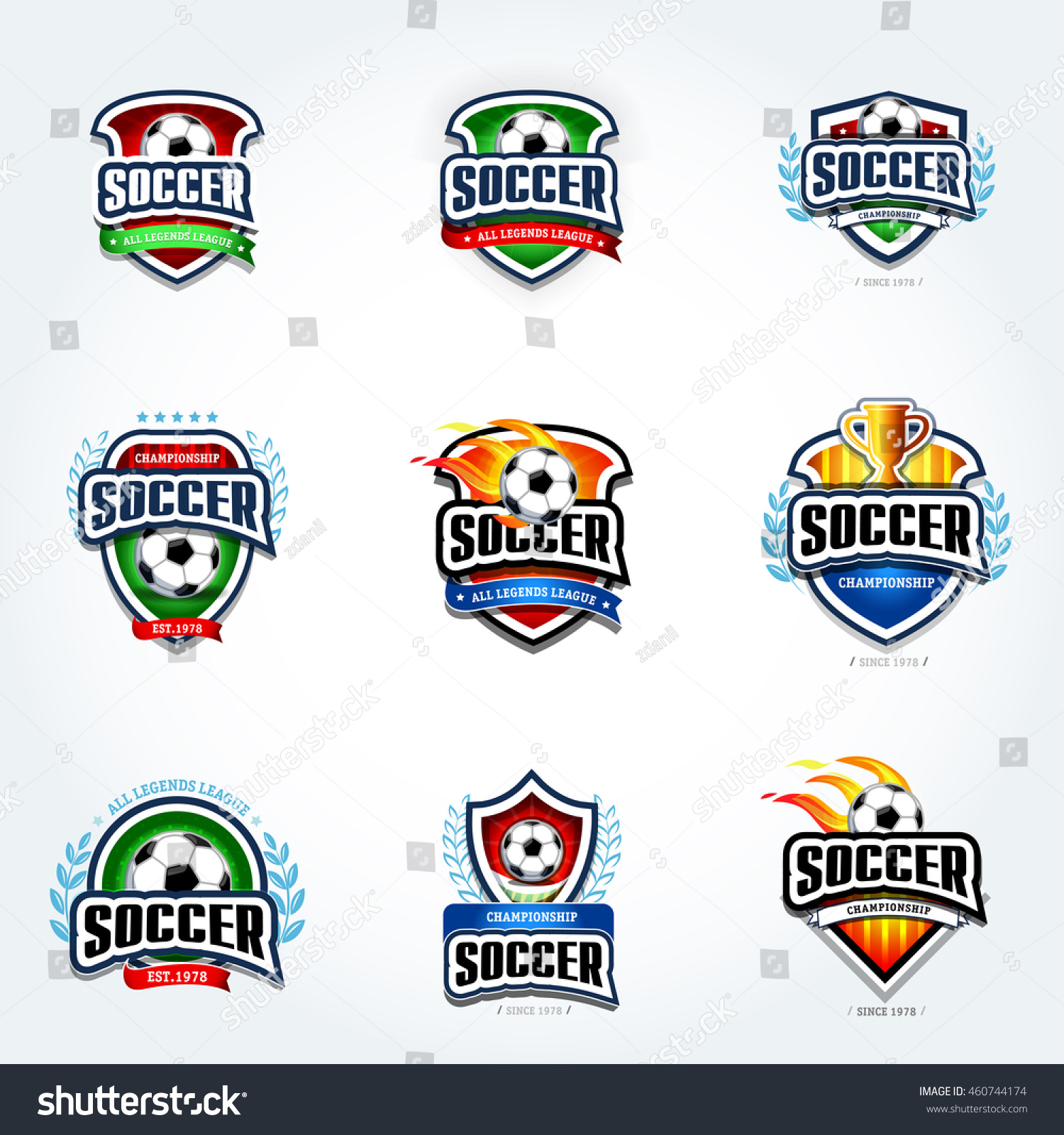 soccer logo set football logotypes set stock vector royalty free
