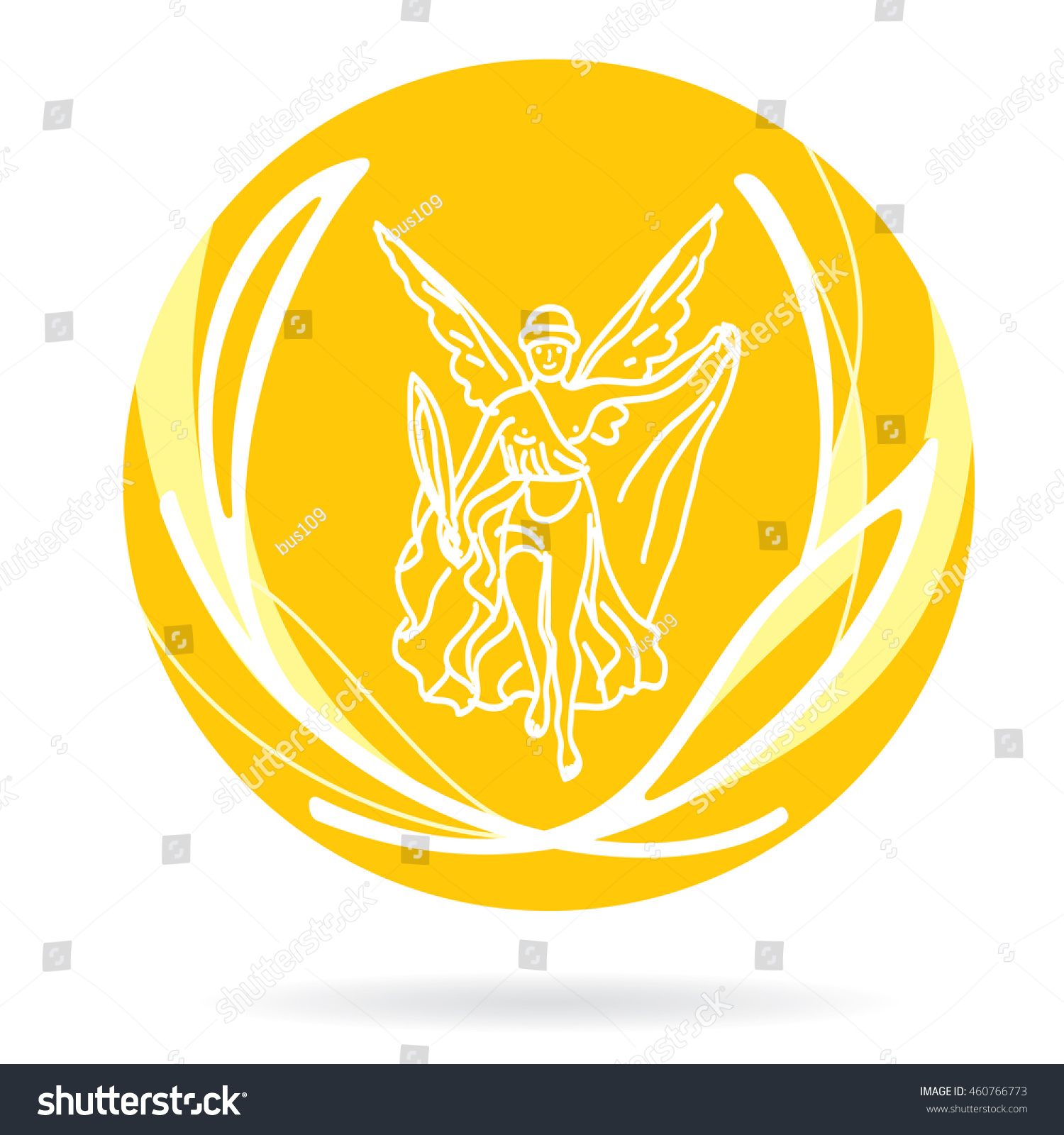Gold Medal Greek Goddess Nike On Stock Vector Royalty Free