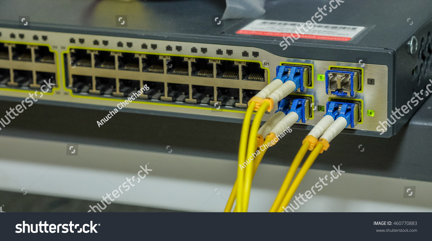 Port Module Fiber Optic Cable Connection Stock Photo Edit Now With Audio Transmission Electronic Circuits And Of For To Network Server Router Servers
