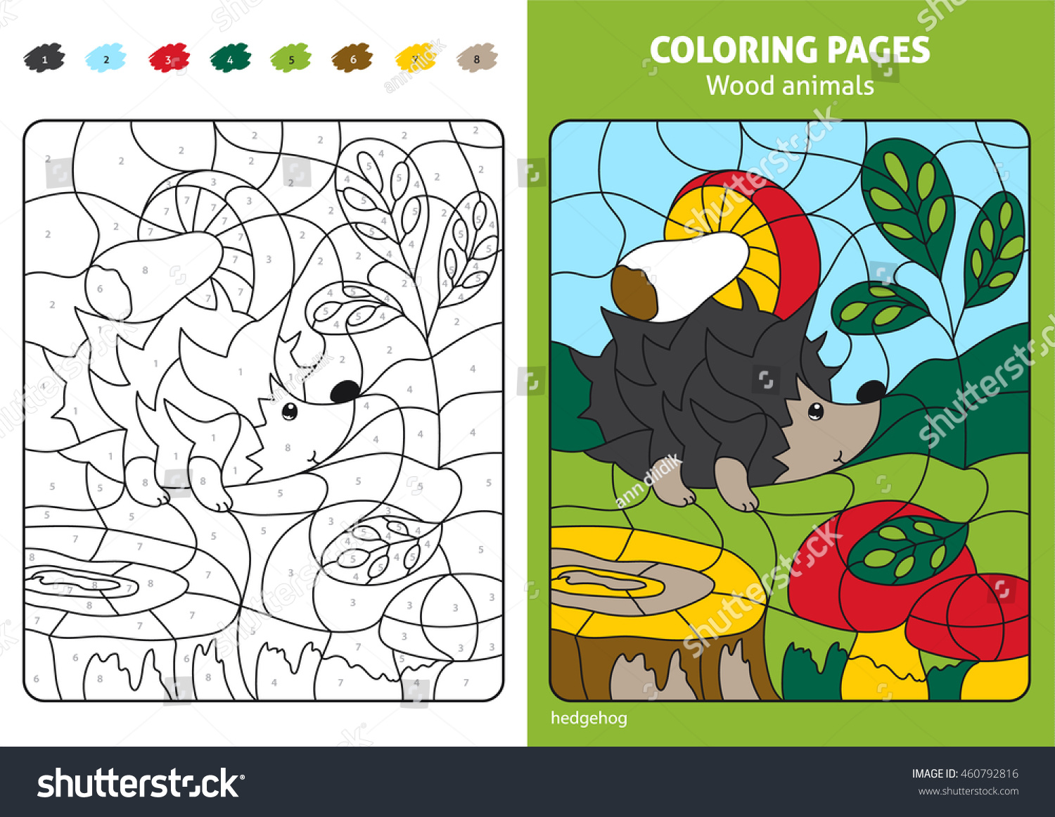 Wood Animals Coloring Page Kids Hedgehog Stock Vector (2018 ...