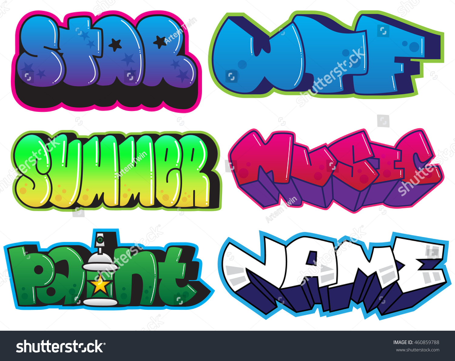 Graffiti set summer star wtf music paint name words