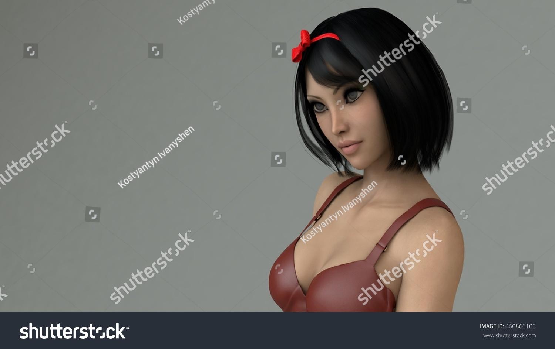 3D Asian Girl 3d illustration young asian girl wearing stock illustration