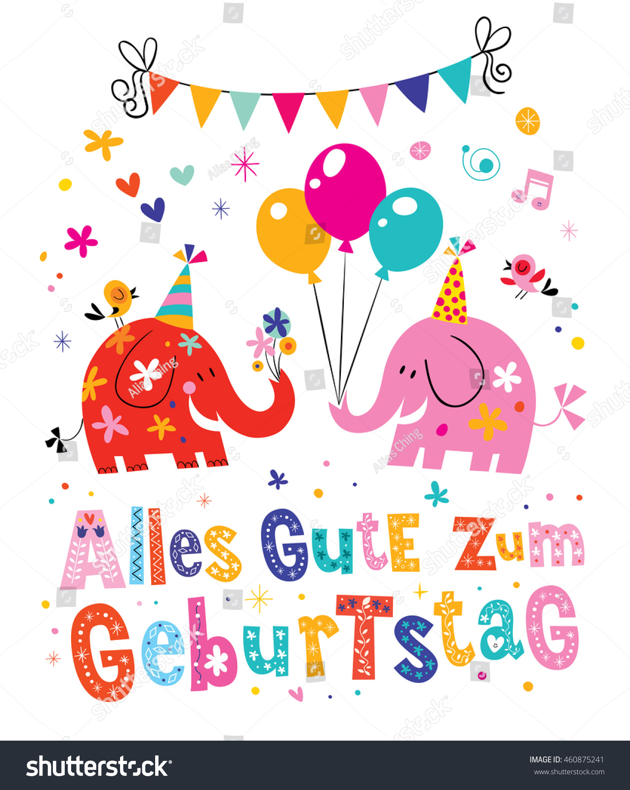 Alles Gute Zum Geburtstag Deutsch German Stock Vector