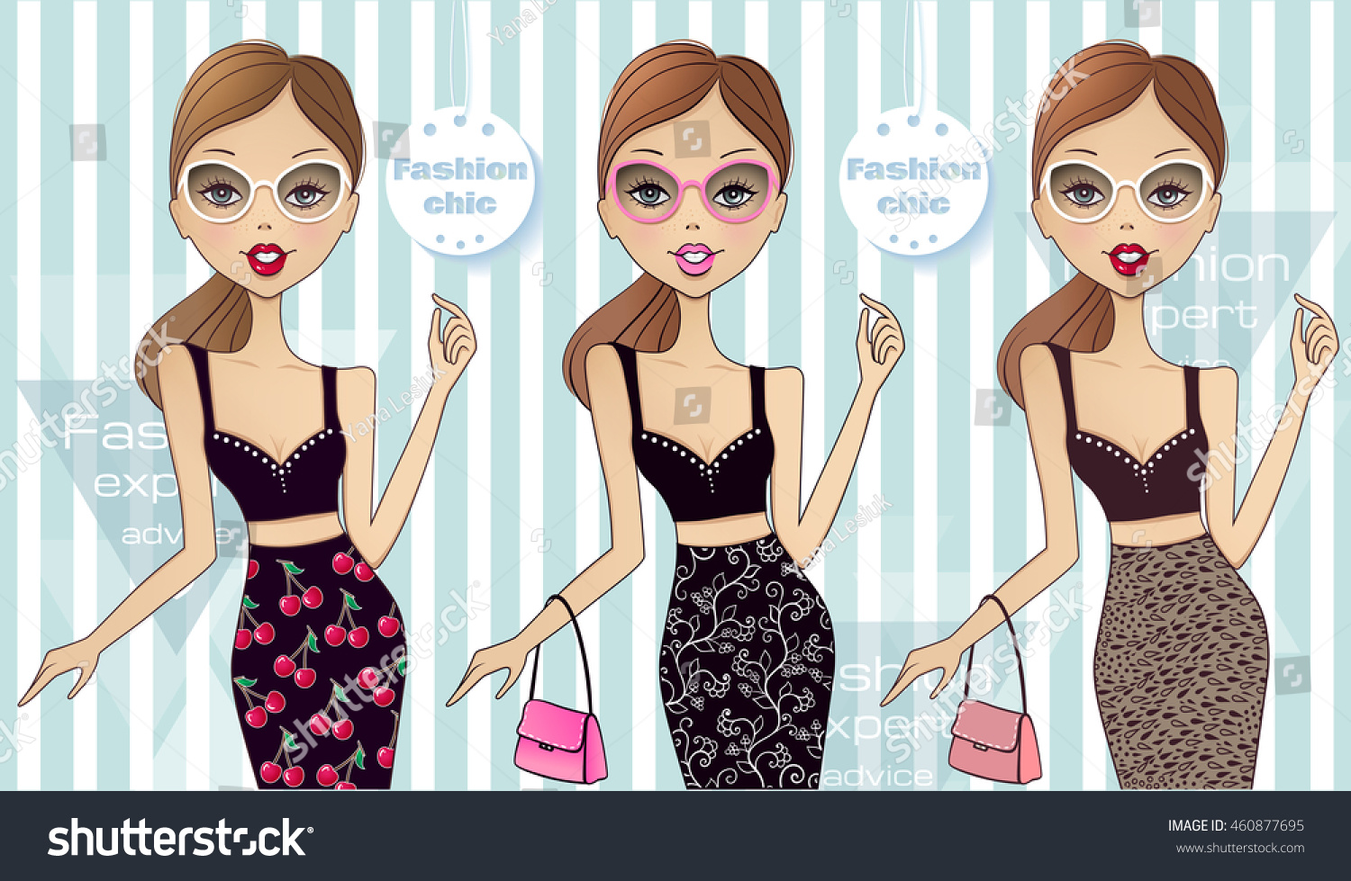 Set Three Cute Vector Fashion Girls Stock Vector 460877695 ...