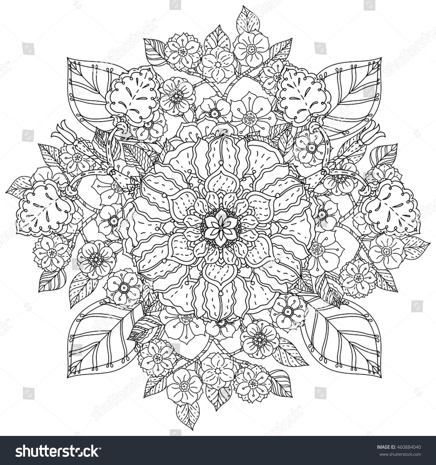 Contoured Mandala Shaped Flowers Leaves Adult Stock Vector