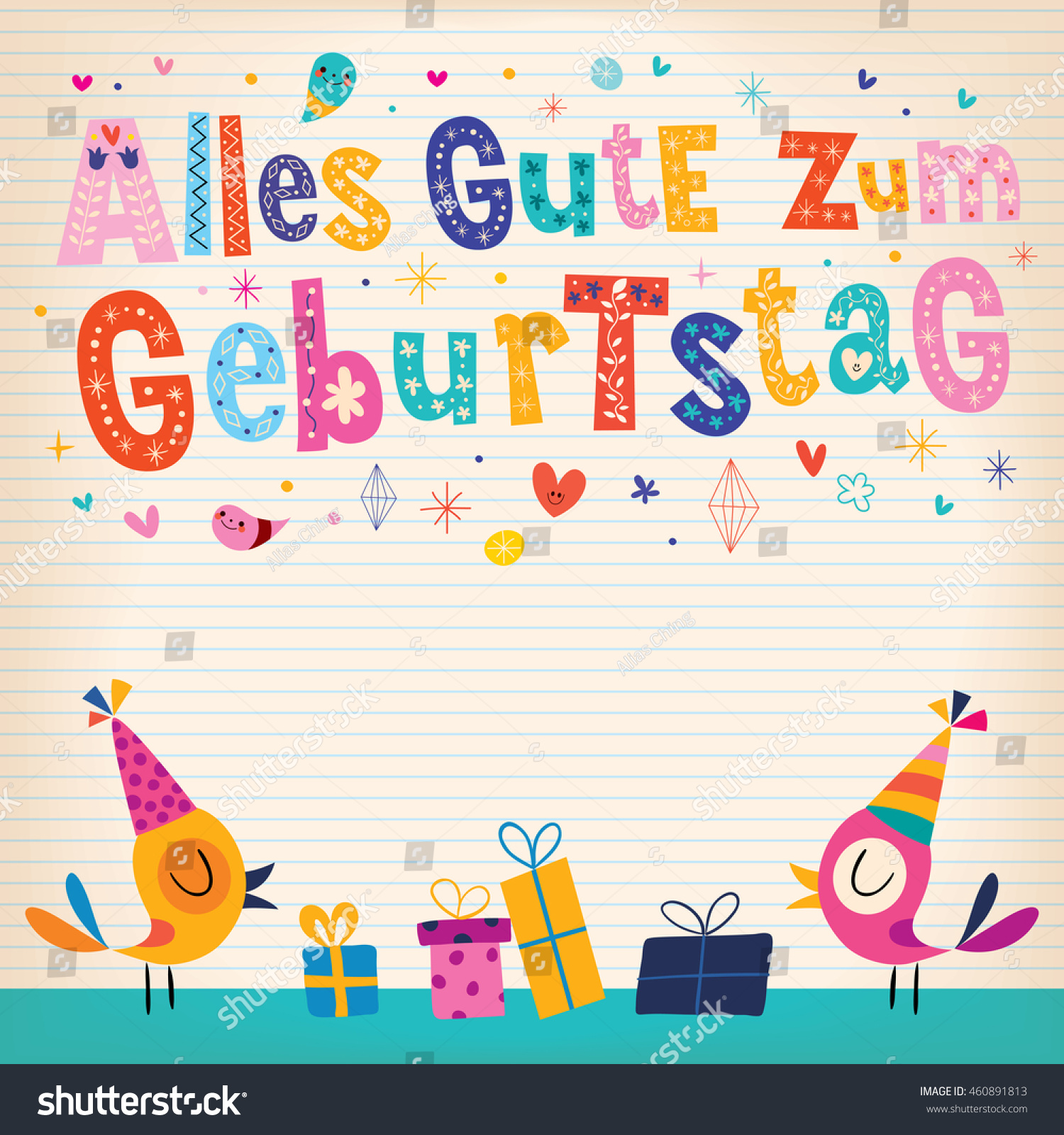 Alles Gute Zum Geburtstag Happy Birthday Vector 460891813 – Birthday Card in German