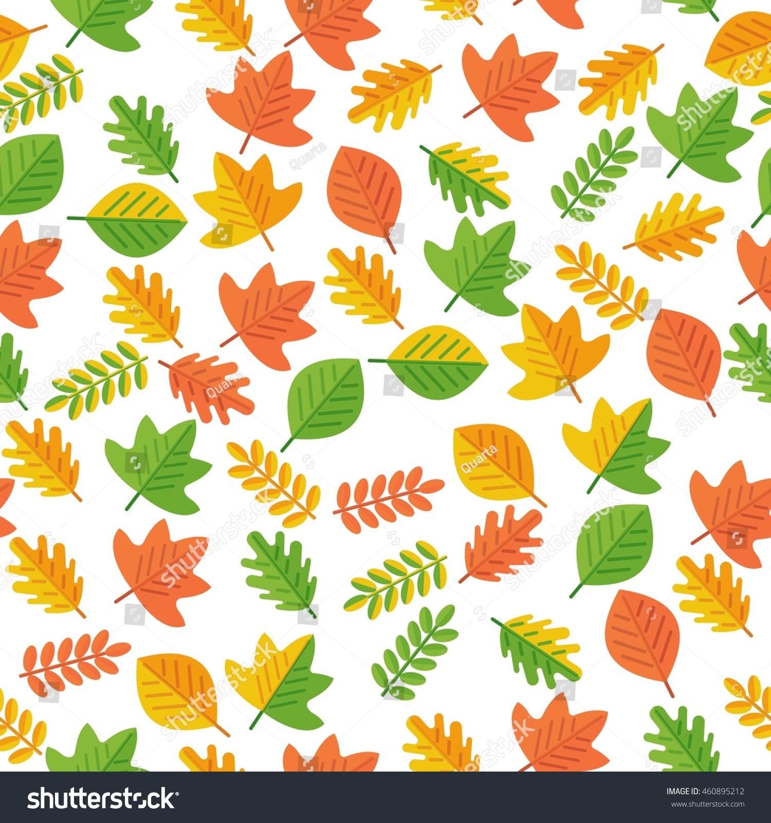 autumn leaves seamless pattern cartoon flat stock vector 460895212