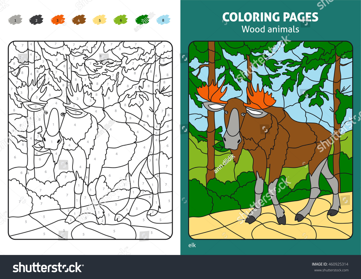 Wood Animals Coloring Page Kids Elk Stock Vector 460925314 ...