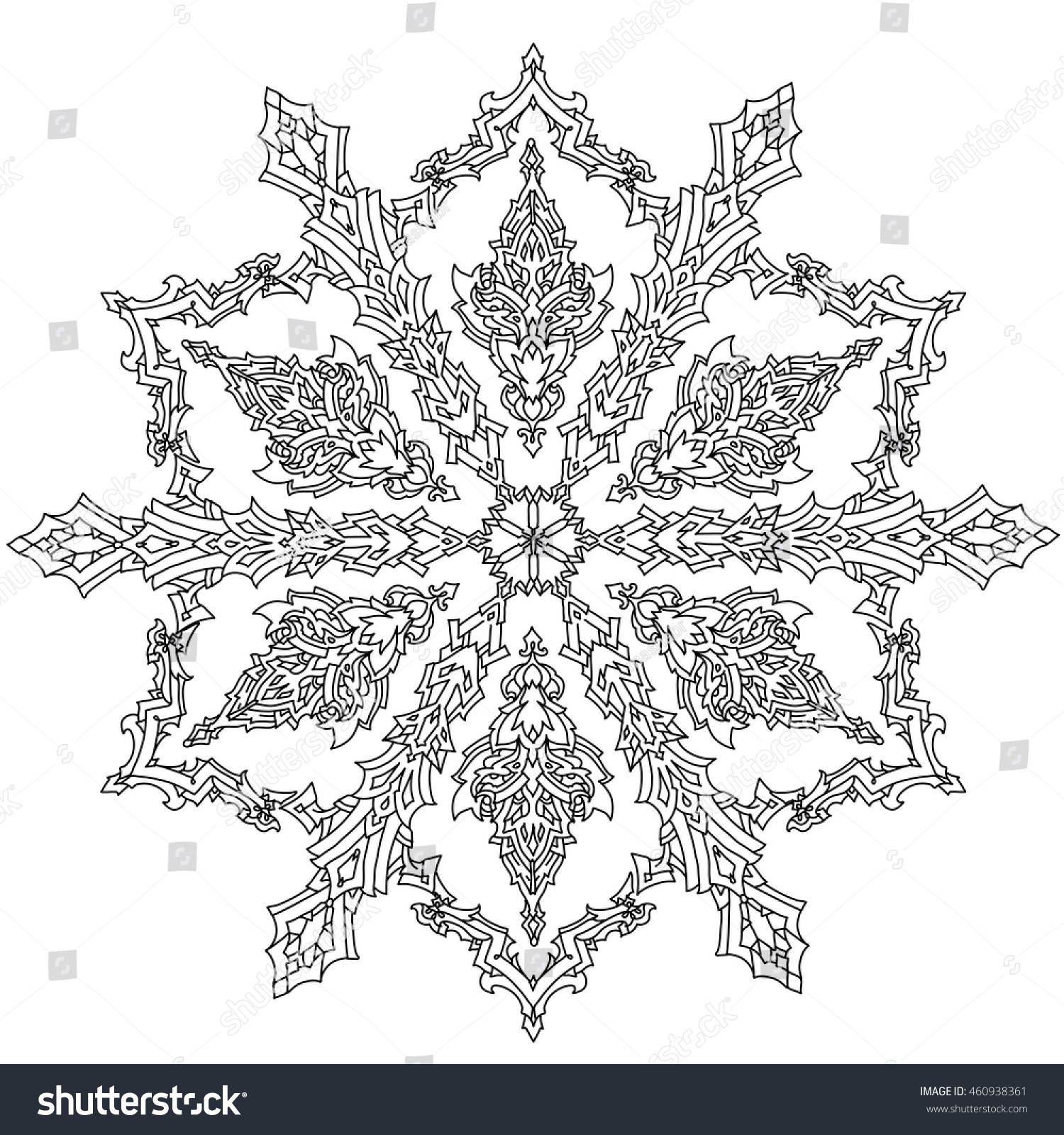 Contoured Mandala Shaped Snowflakes Adult Coloring Stock ...