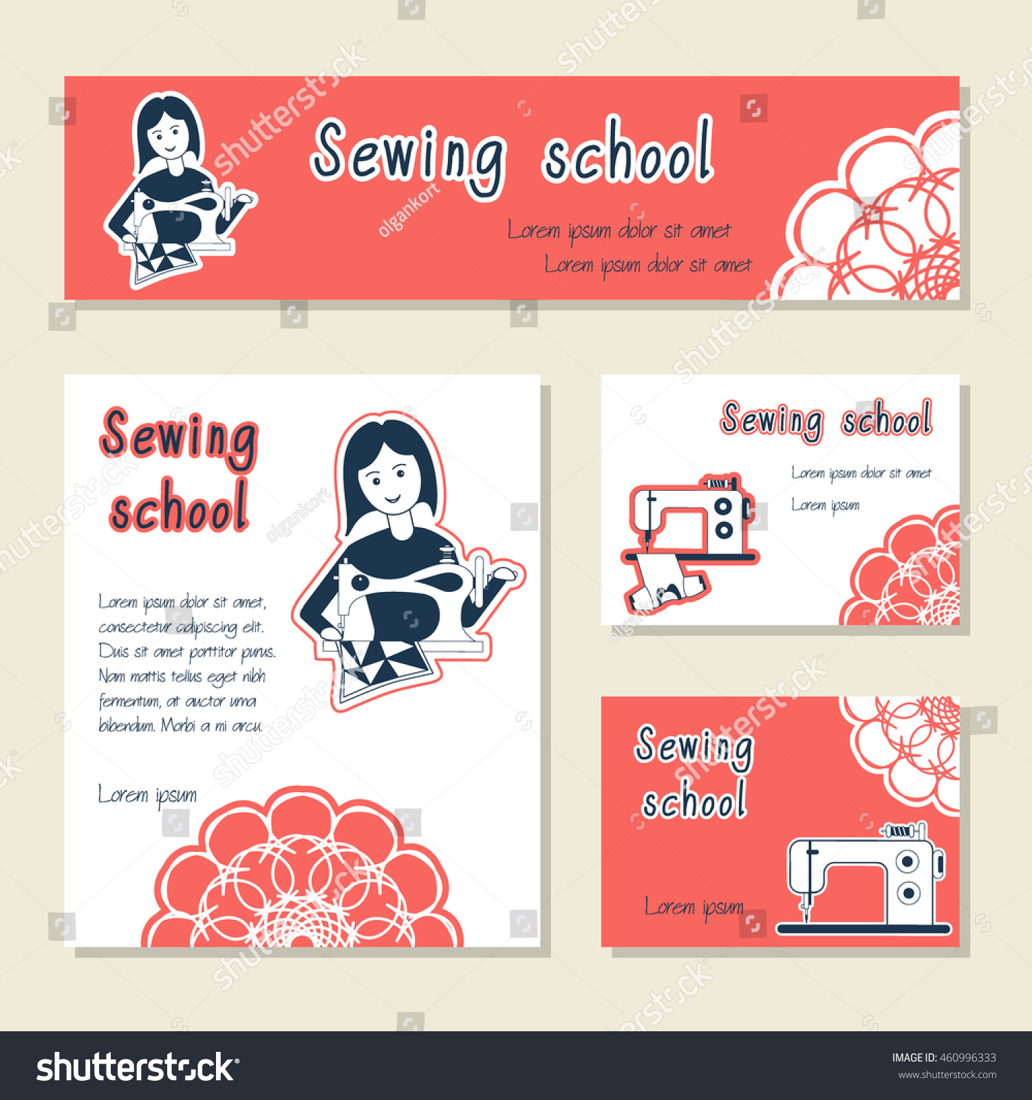Vector set cards template sewing school stock vector 460996333 vector set of cards template for sewing school tailor shop shop sewing machines magicingreecefo Image collections
