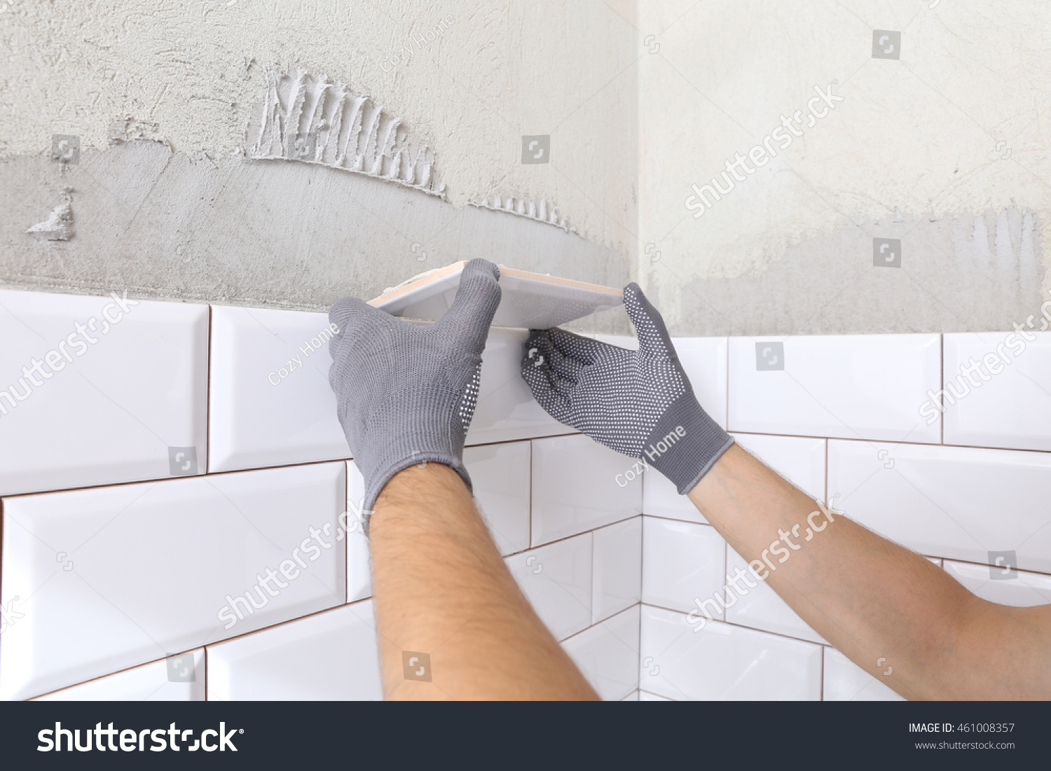 Stylish Trendy White Ceramic Tile Chamfer Stock Photo (Edit Now ...