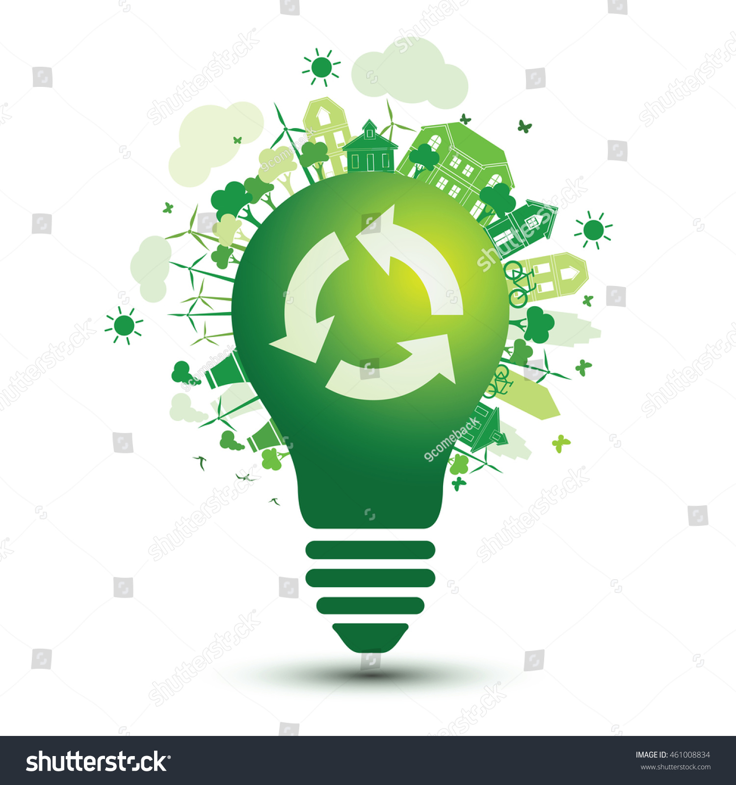Green City Recycle Logo Light Bulb Stock Vector 461008834 - Shutterstock for Green Light Bulb Logo  53kxo