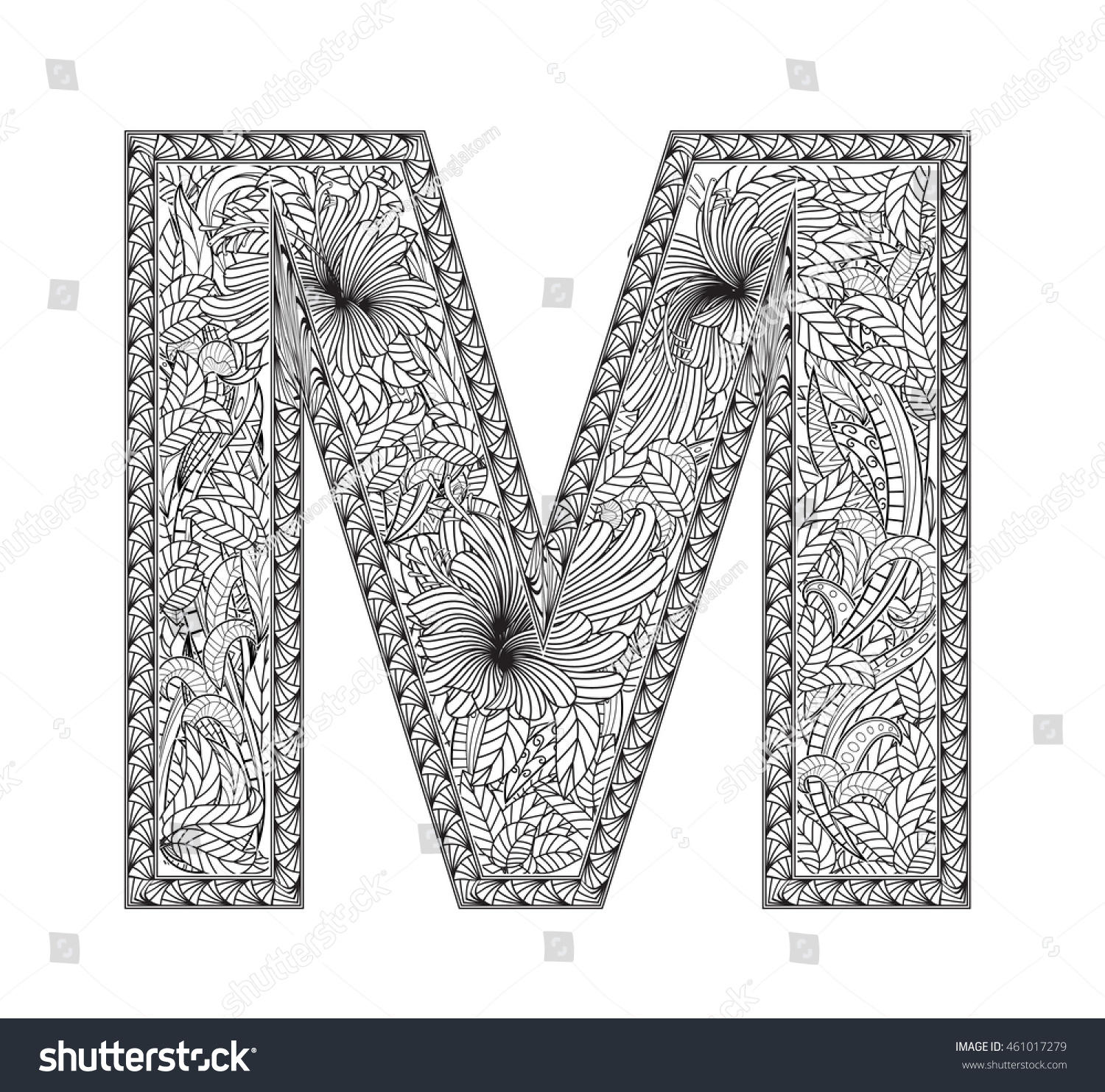 Zentangle Stylized Alphabet Letter M In Doodle Style Hand Drawn Sketch Font 461017279