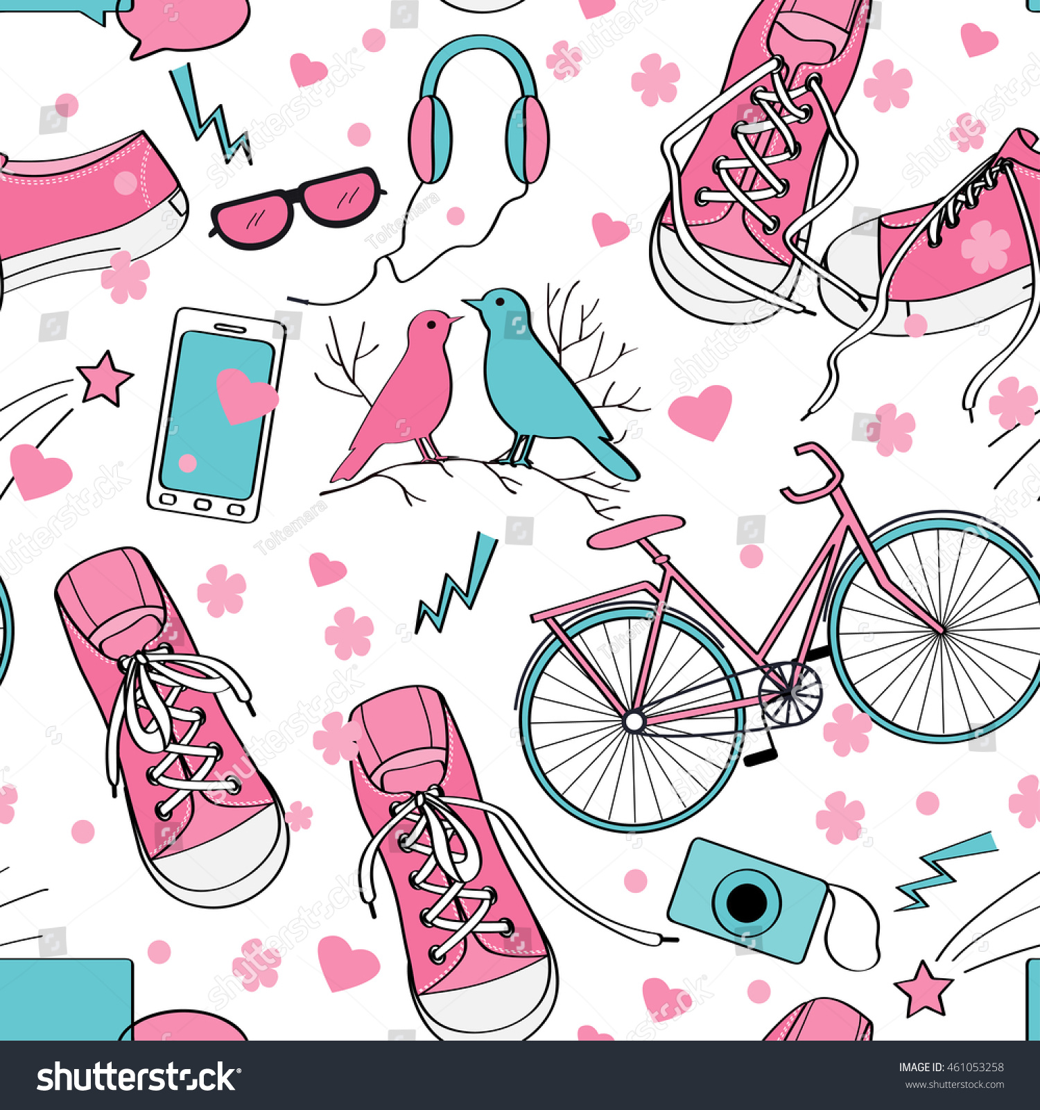 Cute Teenager Girls Pattern With Sneakers Birds Couple Bike Camera Mobile Telephone