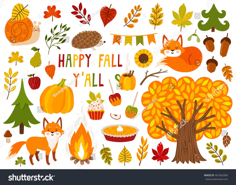 Set Cute Autumn Cartoon Characters Plants Stock Vector Royalty Free 461062060