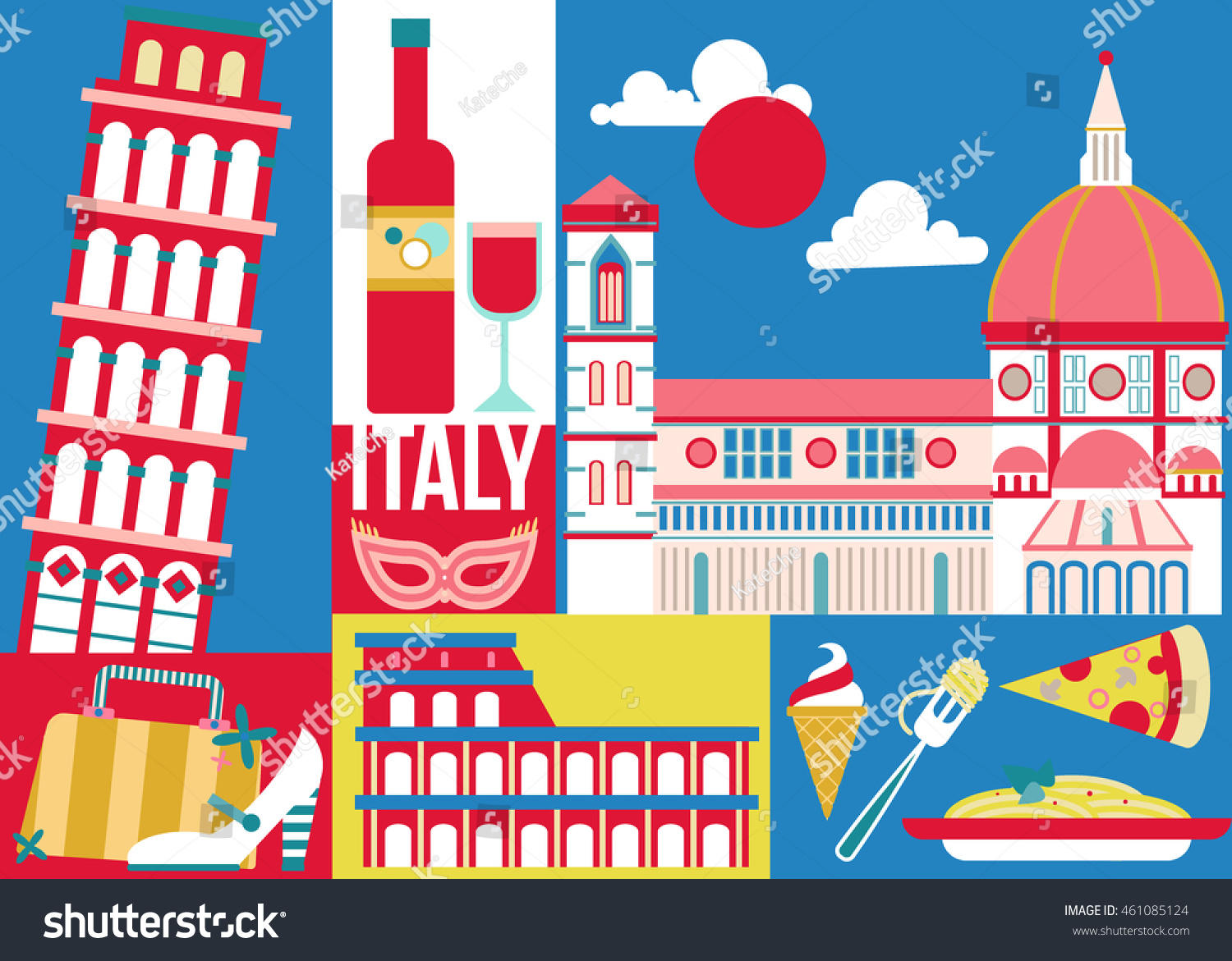 Royalty Free Italy Travel Concept Design For Poster 461085124