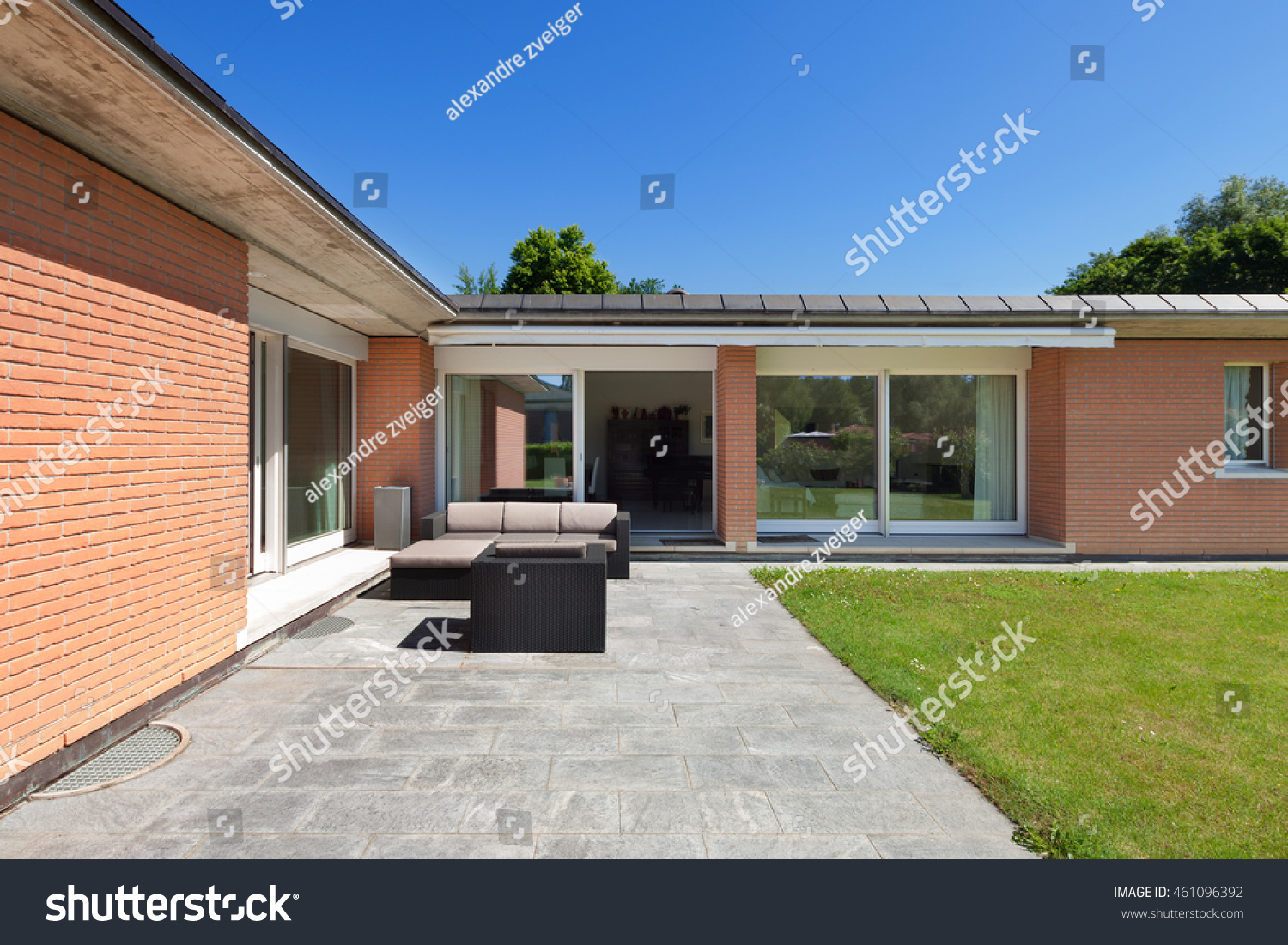 architecture veranda brick house outdoors stock photo 461096392 shutterstock. Black Bedroom Furniture Sets. Home Design Ideas