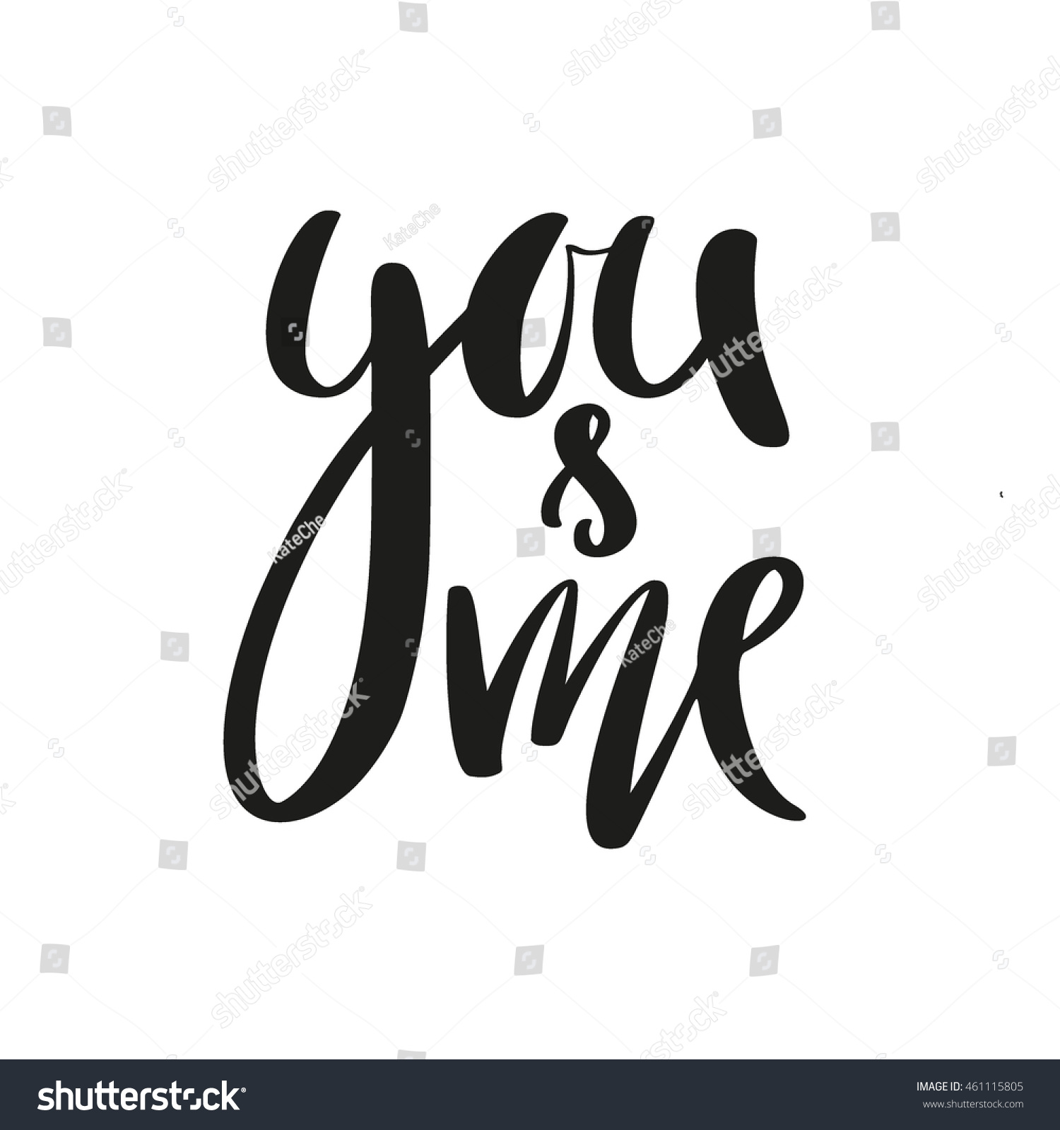 You me modern calligraphy lettering design stock vector