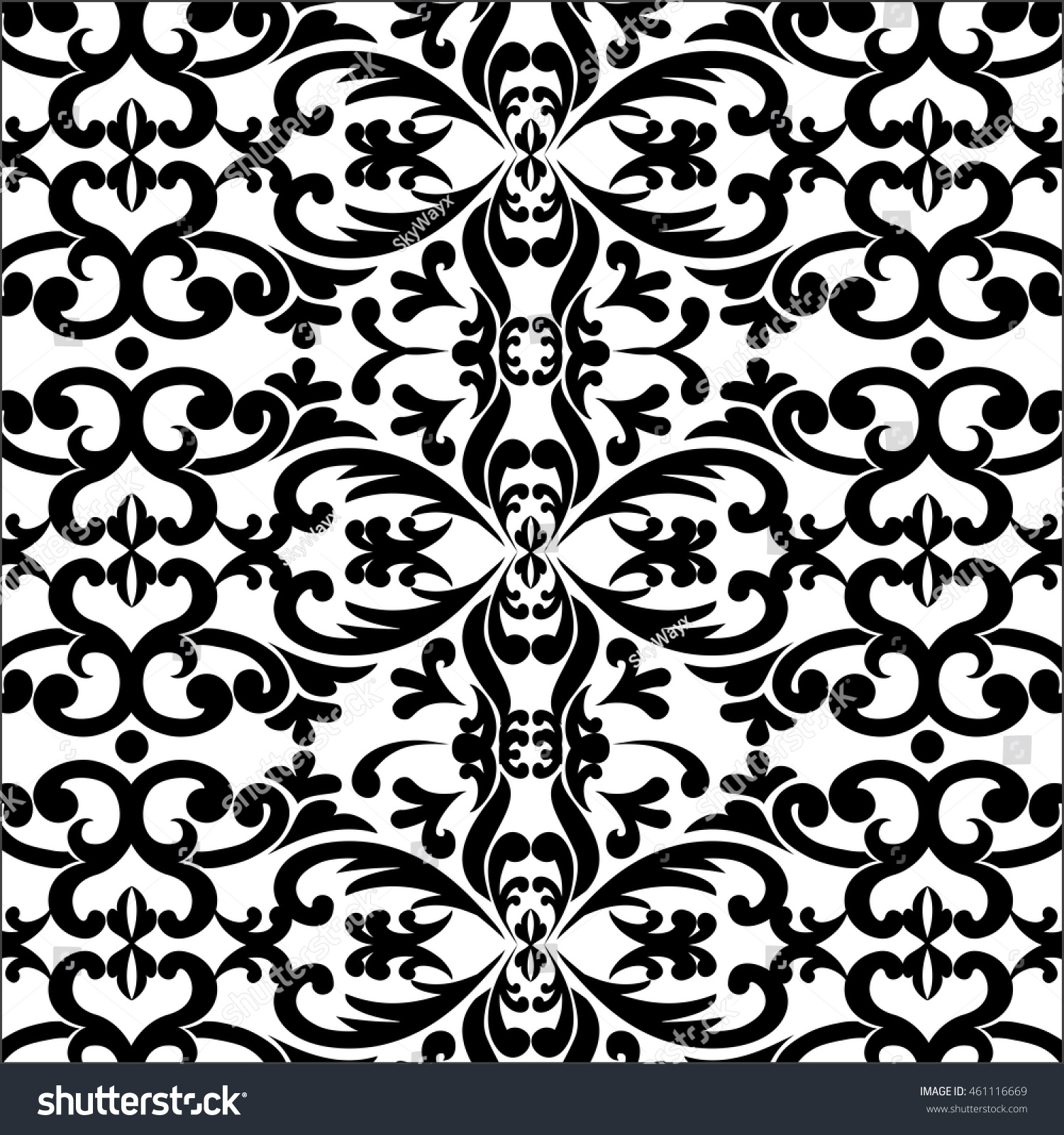 black ornament monogram wallpaper pattern