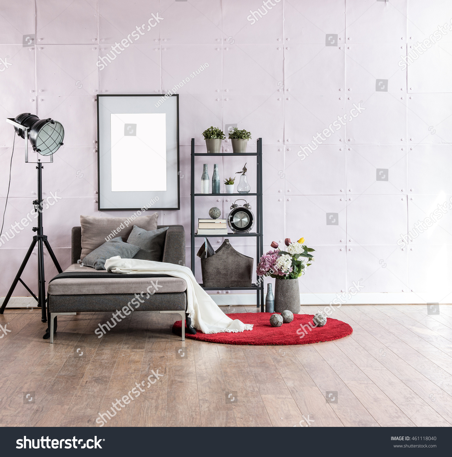 Modern Living Room Corner Sofa Behind Stock Photo (Royalty Free ...