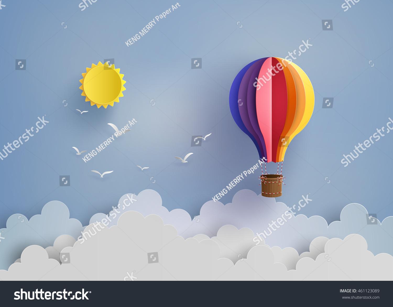 Origami made colorful hot air balloon stock vector 461123089 origami made colorful hot air balloon and cloudper art style jeuxipadfo Choice Image
