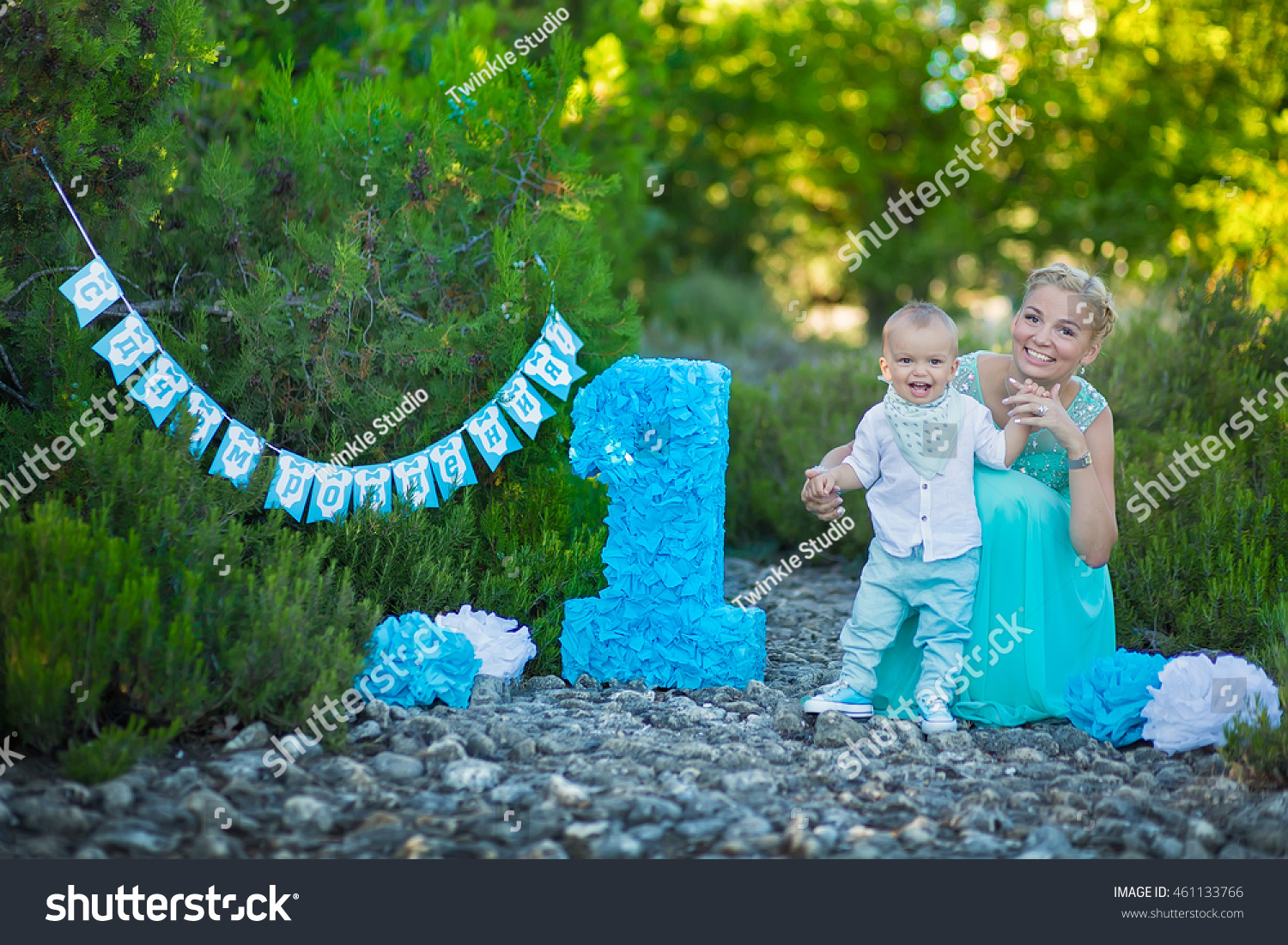 Mom And Son Celebrate First Birthday Boys