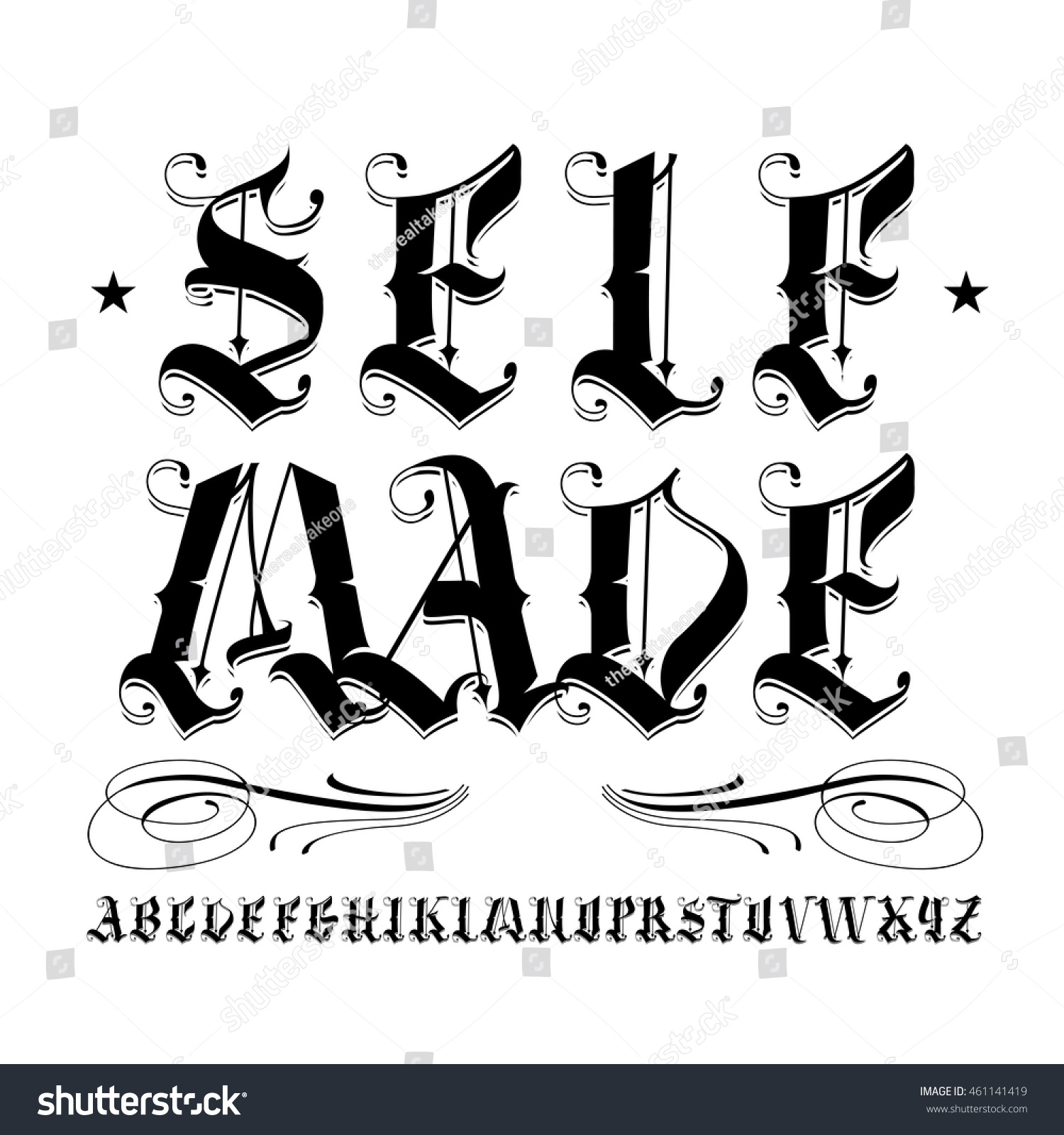 Famous Tattoo Old English Vector Lettering Stockvector Rechtenvrij