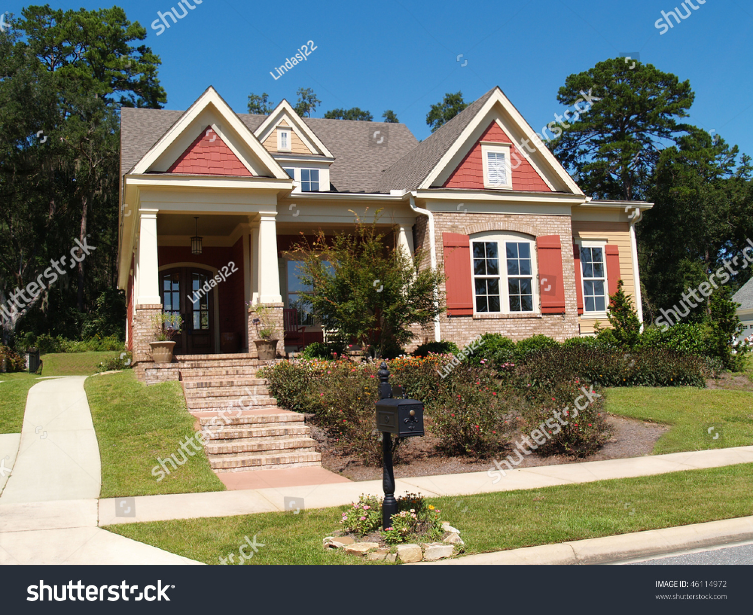 Beige Brick Home Having Peach White Stock Photo 46114972
