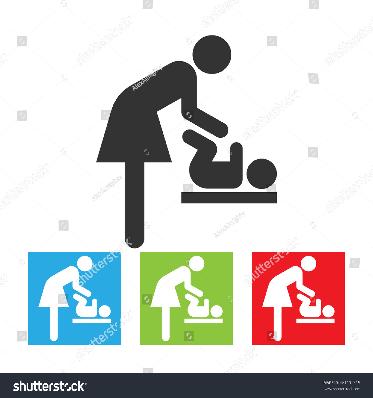 Symbol Woman Baby Toilet Room Mothers Stock Illustration 461191315