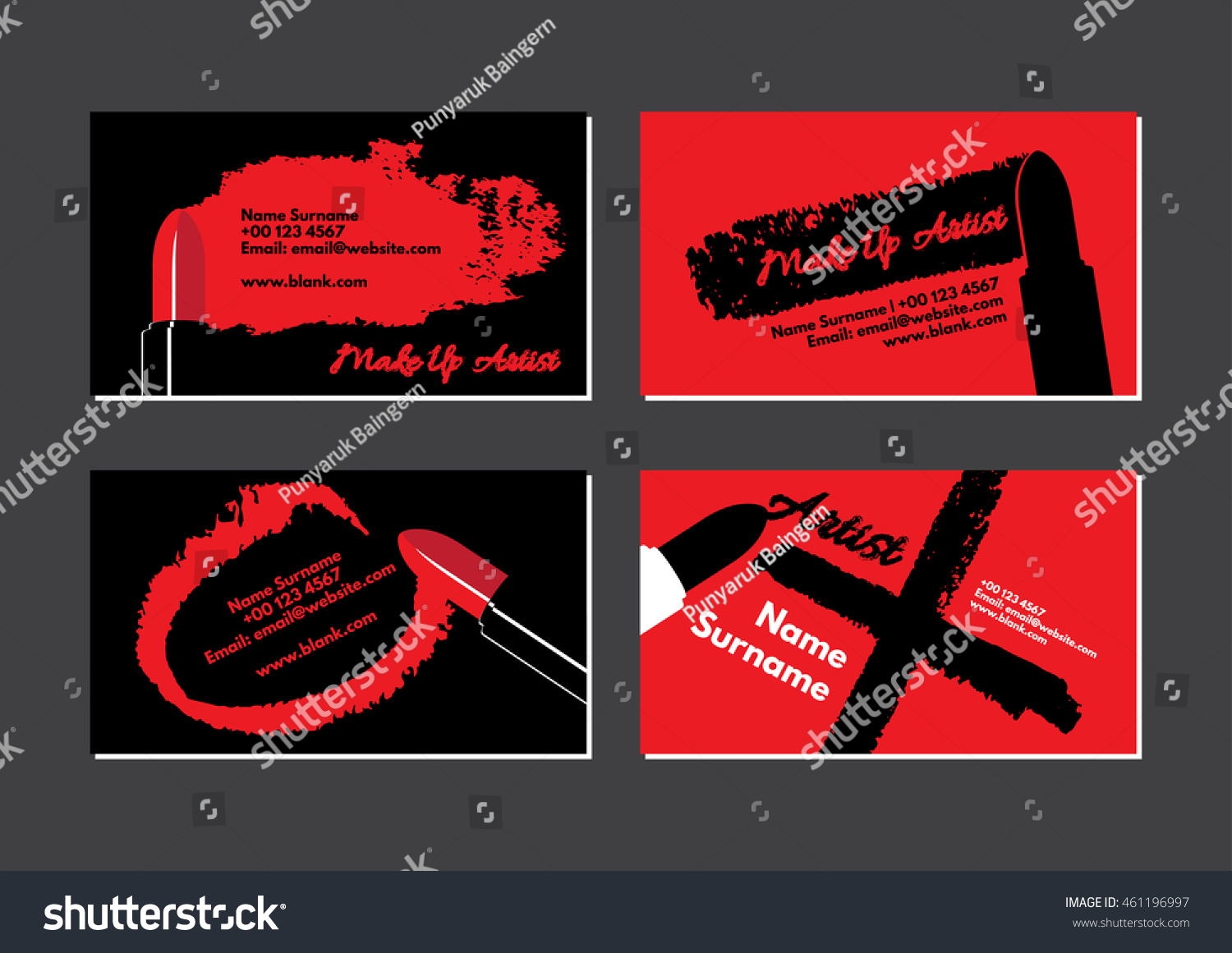 Business Card Make Artist Featuring Red Stock Vector 461196997 ...