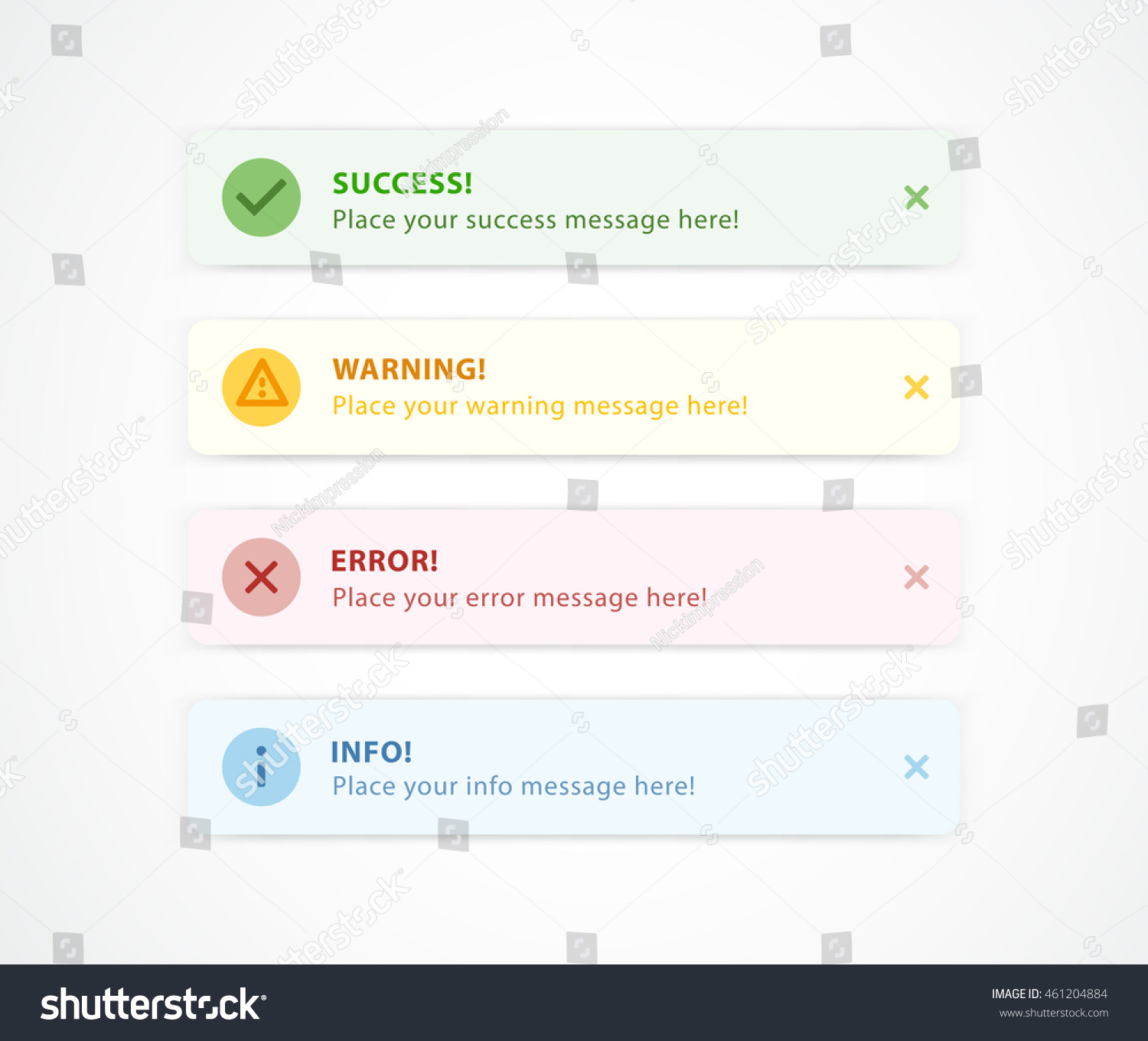 notification messages for web design success warning error info message