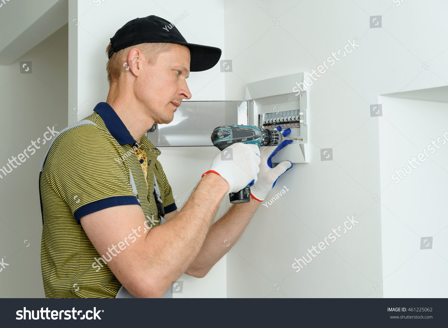 Electrician Installing Electrical Fuse Box House Stock Photo Edit An In A