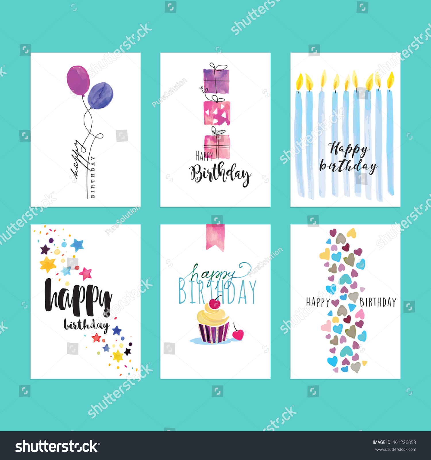 Hand Drawn Watercolor Birthday Greeting Cards Stock Vector
