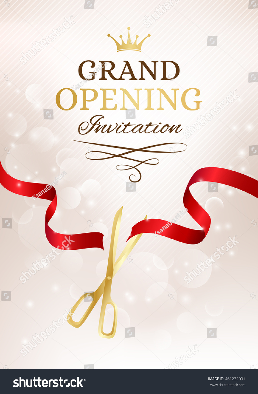 Grand Opening Invitation Card Cut Red Stock Vector ...