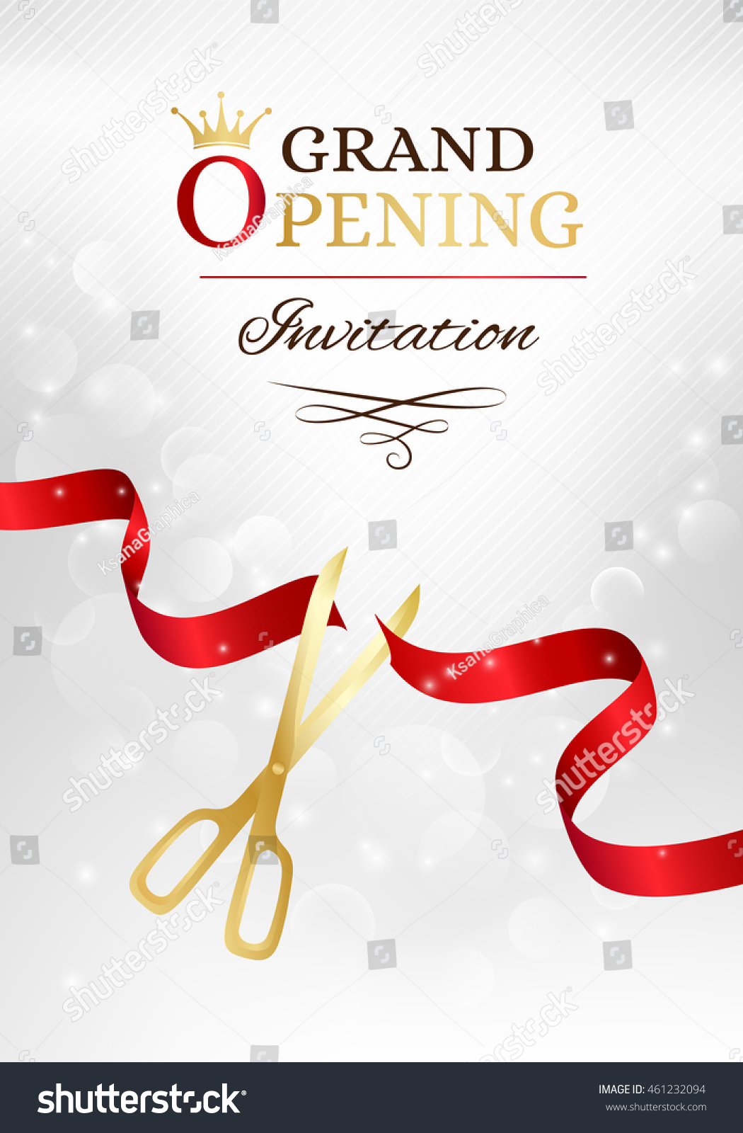 grand opening invitation card with cut red ribbon and gold scissors vector background with light