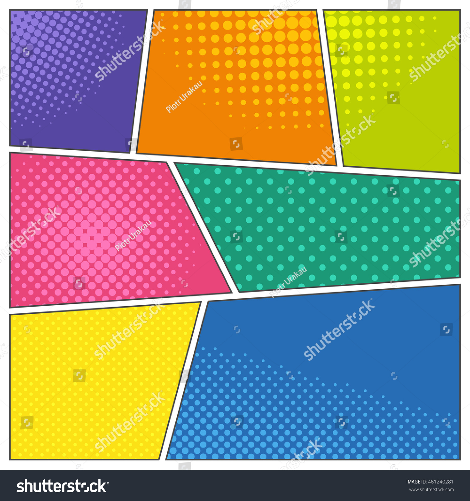 ic Book Frames Diffe Colors Dotted Stock Vector