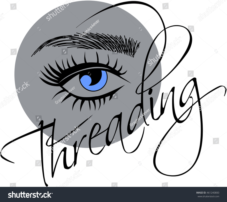 Threading Logo Eye Sketched Eyebrows Image Vectorielle De Stock
