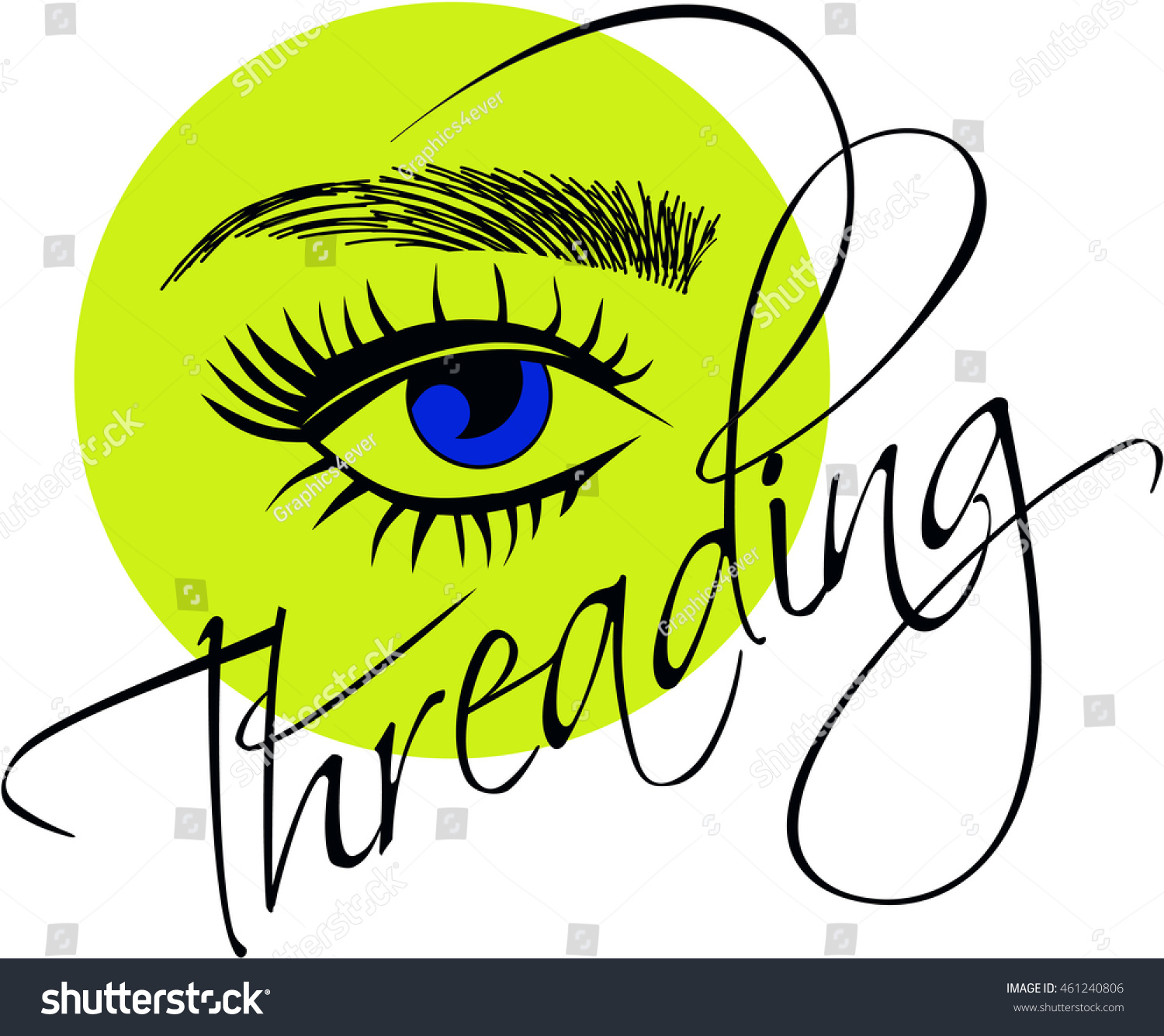 Threading Logo Eye Sketched Eyebrows Stock Vector Royalty Free