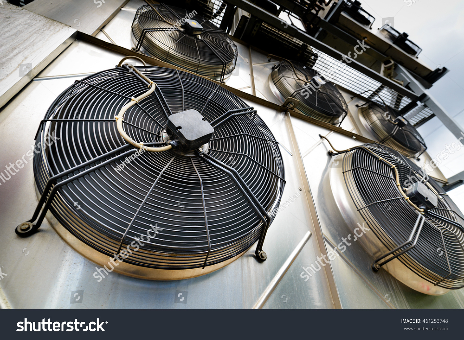 Industrial Cooling Fans : Cooling industrial air conditioning units closeup stock