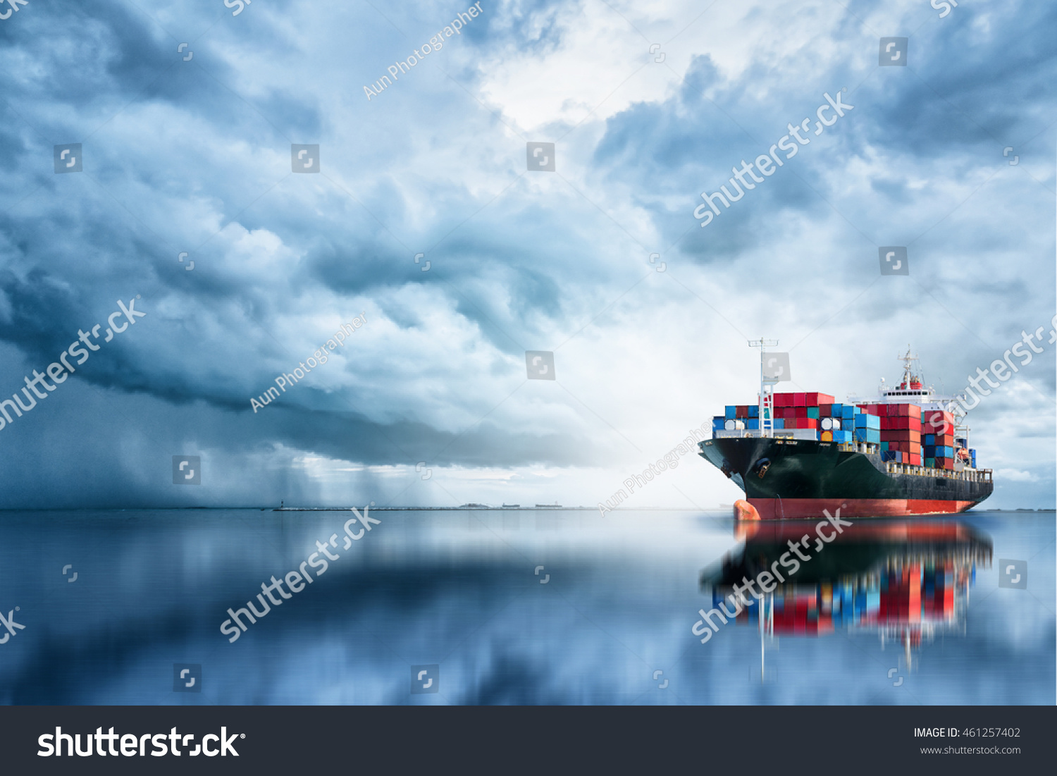 International Container Cargo ship in the ocean, Freight Transportation, Shipping, Nautical Vessel #461257402