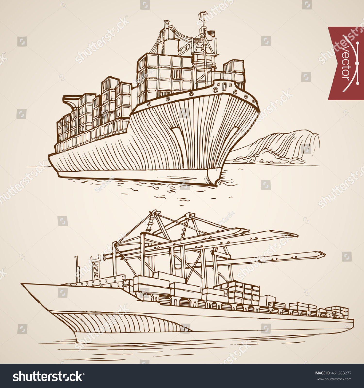 Engraving vintage hand drawn vector ship stock vector royalty free