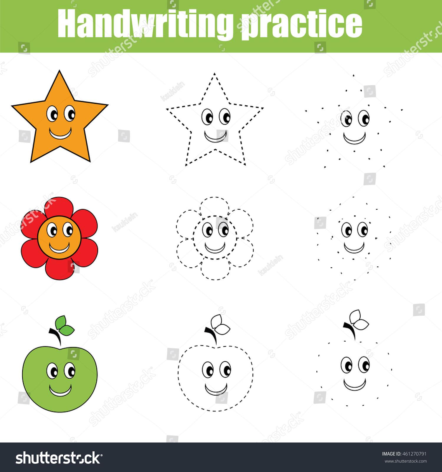 handwriting practice sheet educational children game stock