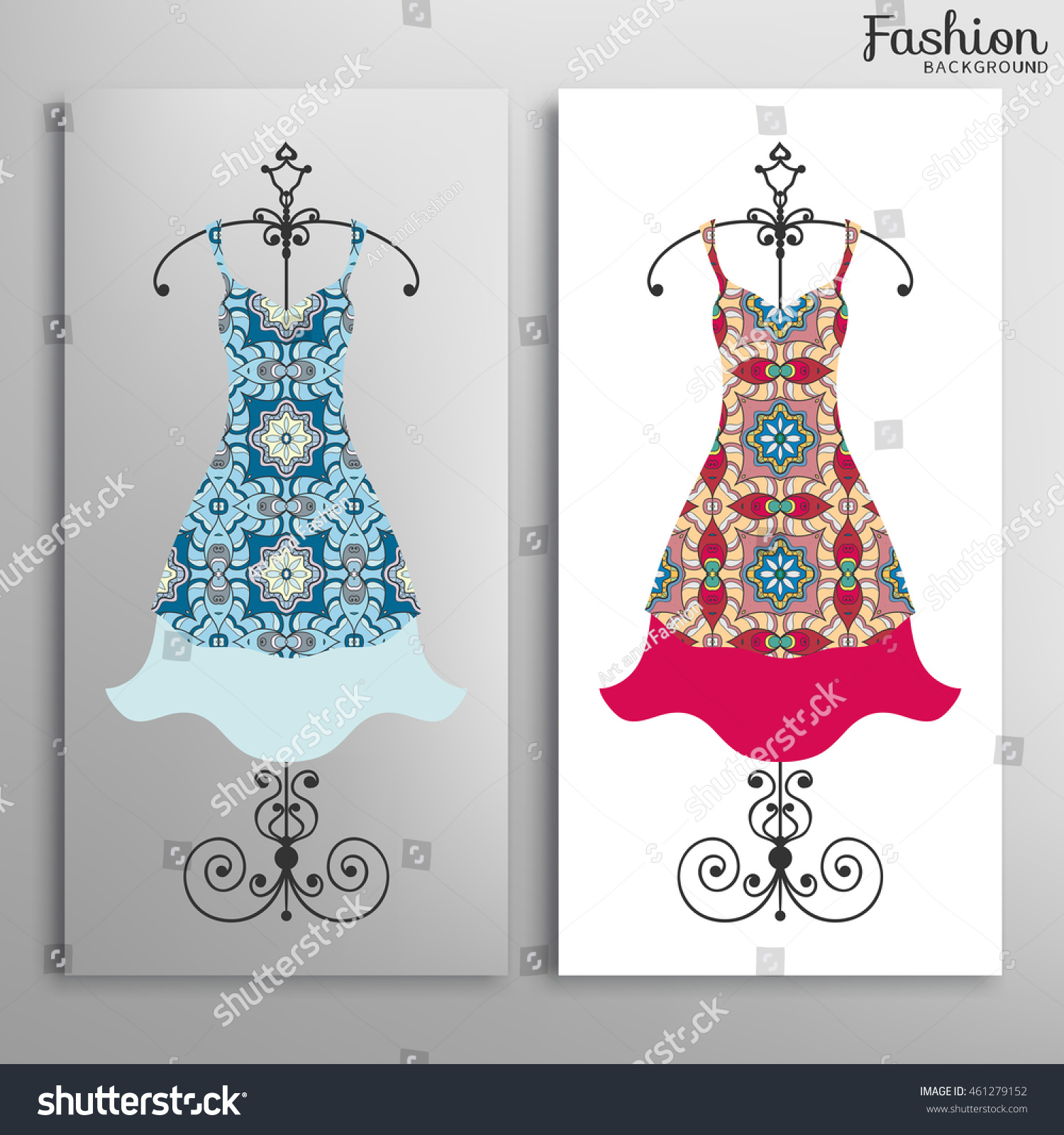 Vector Fashion Illustration Womens Dress Collection Stock Vector Royalty Free 461279152